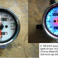 70mm White face speedo with warning lights