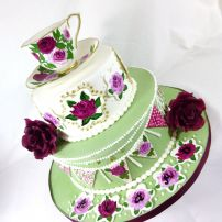 Hand Painted English High Tea theme cake with cup and saucer