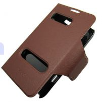 Samsung Galaxy Note 2 Leather Flip Stand Case Cover Cutouts - Brown