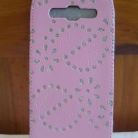 Samsung Galaxy 3 i9300 Leather Flower Bling Case - Light Pink