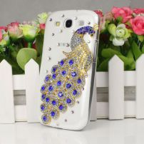 Samsung Galaxy S3 I9300 Peacock Bling Case Cover - Blue