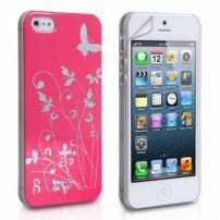 Iphone 5 Butterfly In The Garden Case Cover - Dark Pink