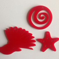 3-pack of NZ Decorations with Fantail - Scarlet Acrylic