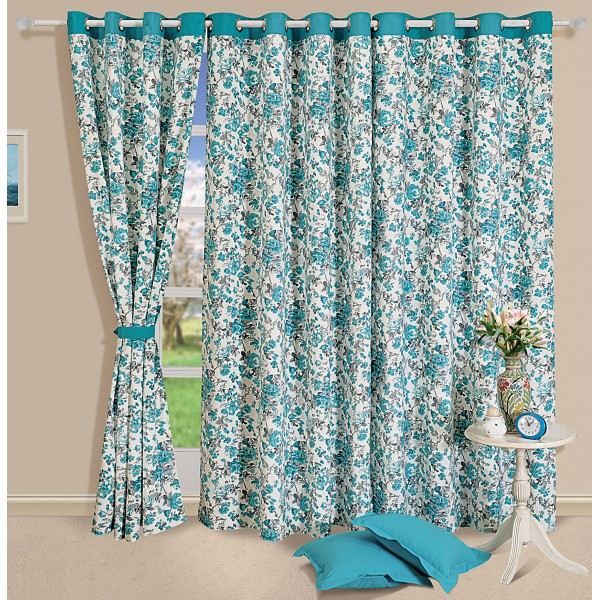 Turquoise Floral Curtain Pair 2711 Heritage Home Curtains And Furnishings