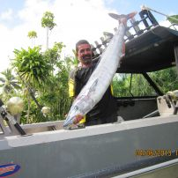 skipper andy with a 20kg wahoo